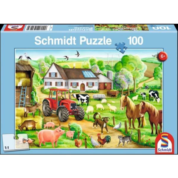 Otroška sestavljanka puzzle 100 delni Schmidt Kmetija