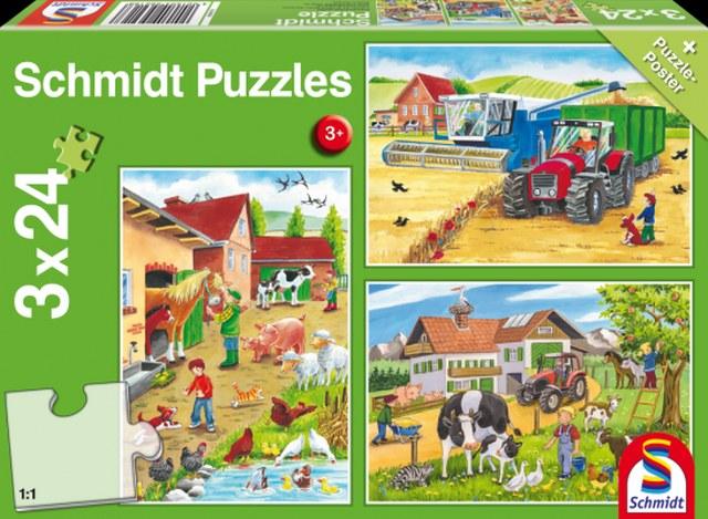 Otroška sestavljanka puzzle 3x24 delna Schmidt Kmetija