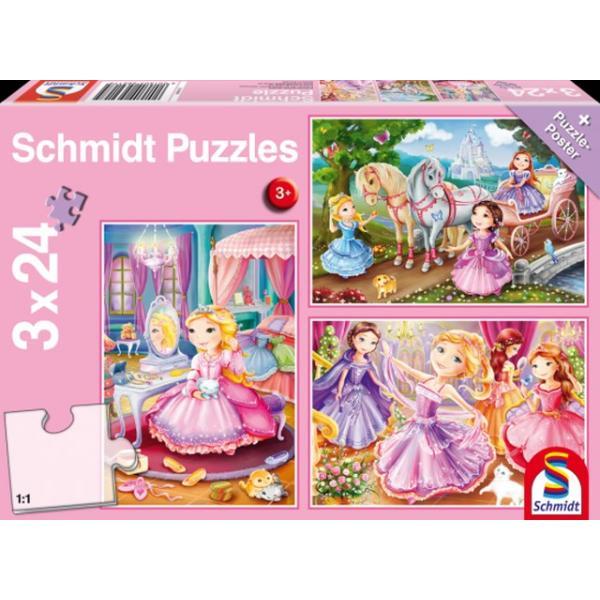 Otroška sestavljanka puzzle 3x24 delna Schmidt Princesa 1