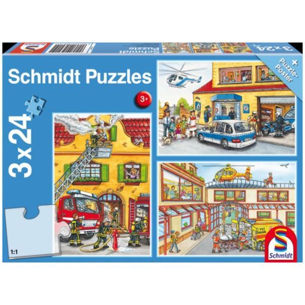 Otroška sestavljanka puzzle 3x24 delni Schmidt Gasilci