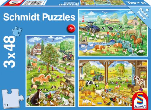 Otroška sestavljanka puzzle 3x48 delni Schmidt Kmetija