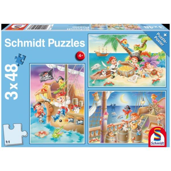 Otroška sestavljanka puzzle 3x48 delni Schmidt Pirati