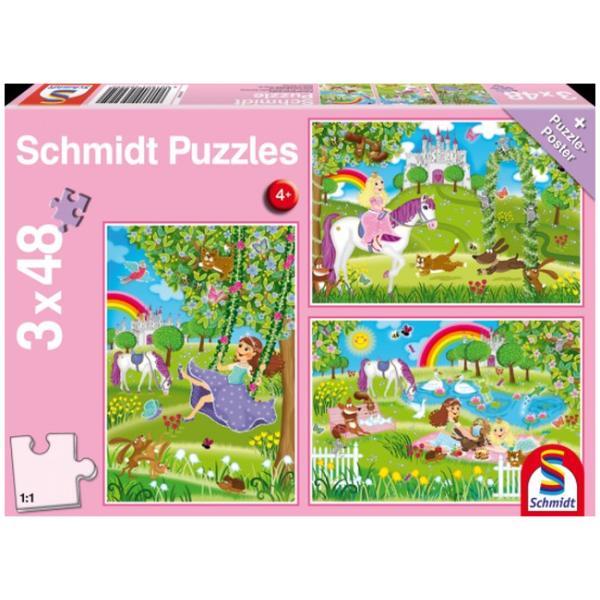 Otroška sestavljanka puzzle 3x48 delni Schmidt Princeskin grad