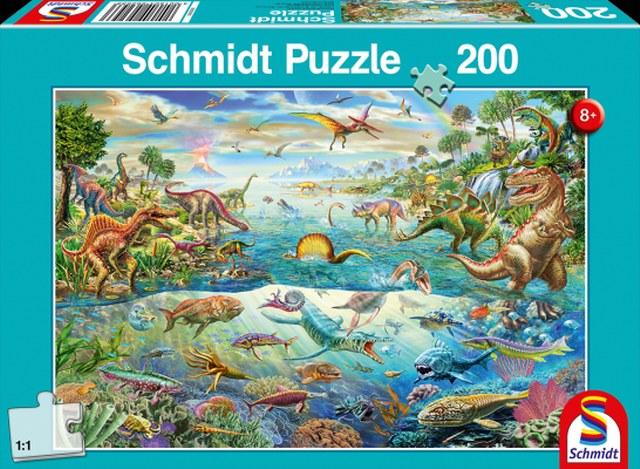 Otroska sestavljanka puzzle 200 delni Schmidt Raziskuj dinozavre