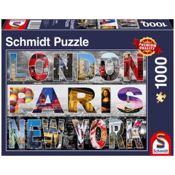 Sestavljanka puzzle 1000 delna Schmidt London Paris NY